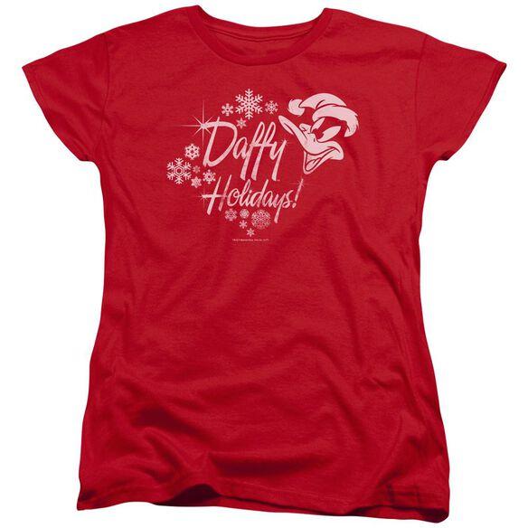Looney Tunes Daffy Holidays Short Sleeve Womens Tee T-Shirt