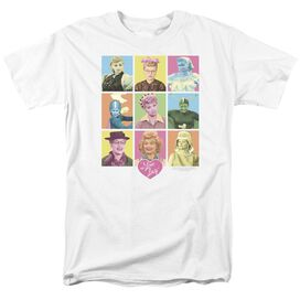 I Love Lucy So Many Faces Short Sleeve Adult White T-Shirt