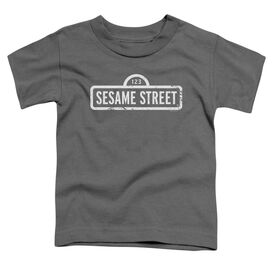 Sesame Street One Color Logo Short Sleeve Toddler Tee Charcoal T-Shirt