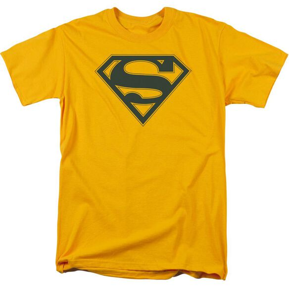 Superman Navy & Gold Shield Short Sleeve Adult Gold T-Shirt