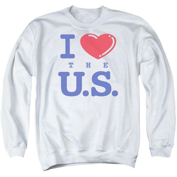 I Love The U.s. - Adult Crewneck Sweatshirt - White