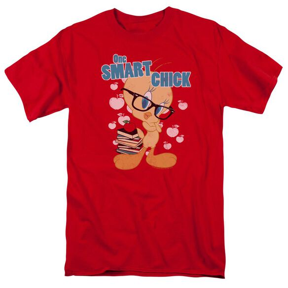 Looney Tunes One Smart Chick Short Sleeve Adult Red T-Shirt