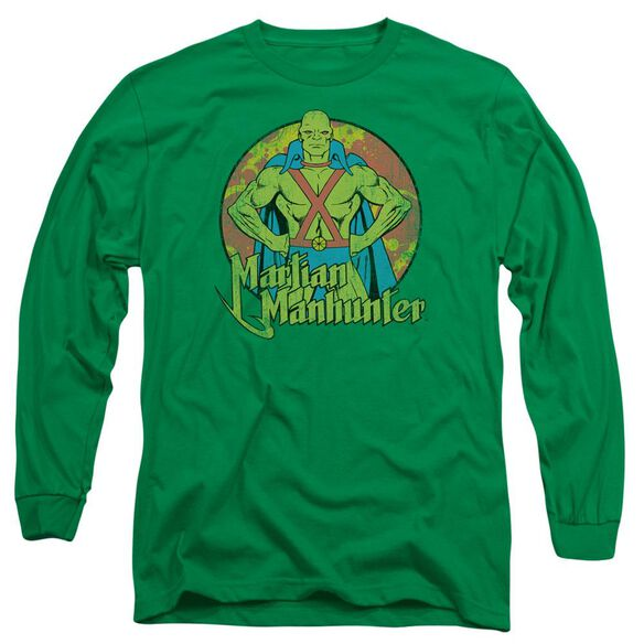 Dc Martian Manhunter Long Sleeve Adult Kelly T-Shirt