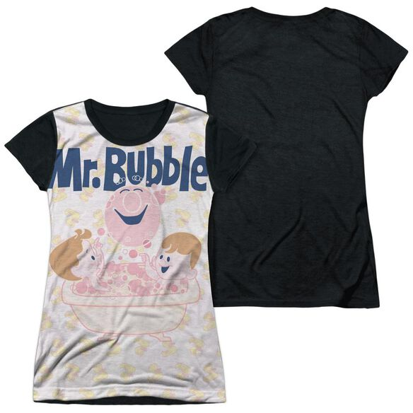 Mr Bubble Bath Buds Short Sleeve Junior Poly Black Back T-Shirt