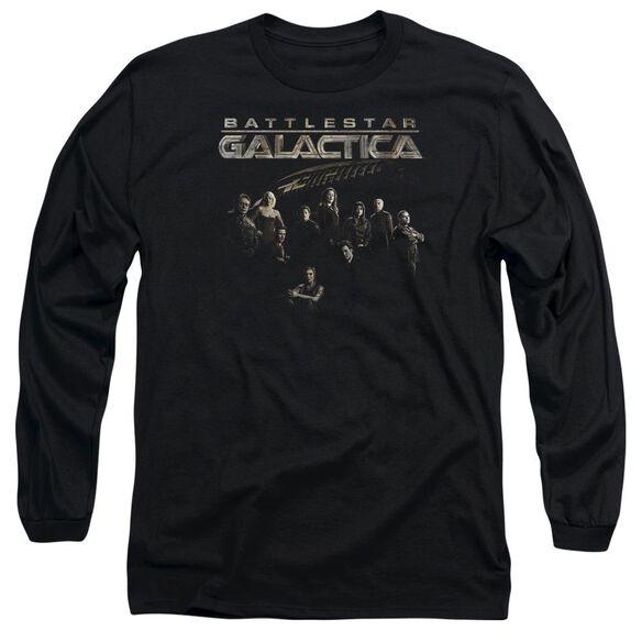 BATTLESTAR GALACTICA BATTLE CAST - L/S ADULT 18/1 - BLACK T-Shirt