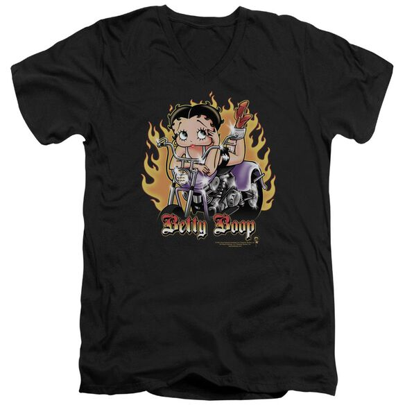 Betty Boop Biker Flames Boop Short Sleeve Adult V Neck T-Shirt