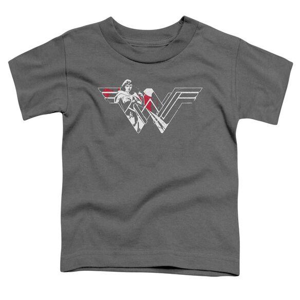 Batman V Superman Wonder Splatter Logo Short Sleeve Toddler Tee Charcoal T-Shirt