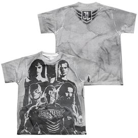 Justice League Movie The League (Front Back Print) Short Sleeve Youth Poly Crew T-Shirt
