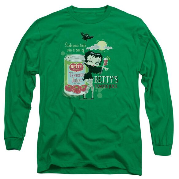 Betty Boop Vampire Tomato Juice Long Sleeve Adult Kelly T-Shirt