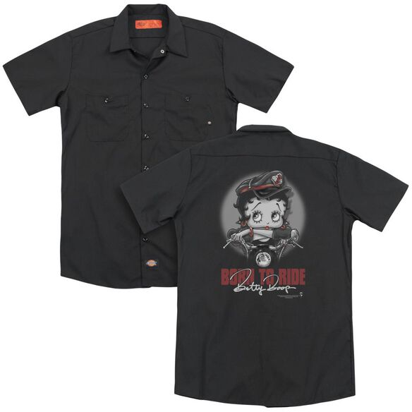 Betty Boop Born To Ride (Back Print) Adult Work Shirt