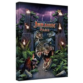 Jurassic Park Welcome To The Park Canvas Wall Art With Back Board