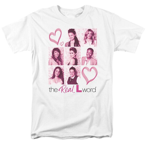 Real L Word Hearts Short Sleeve Adult White T-Shirt
