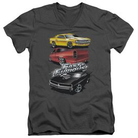 FAST AND THE FURIOUS MUSCLE CAR SPLATTER - S/S ADULT V-NECK 30/1 - CHARCOAL T-Shirt