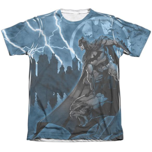 Batman Lightning Strikes Adult Poly Cotton Short Sleeve Tee T-Shirt