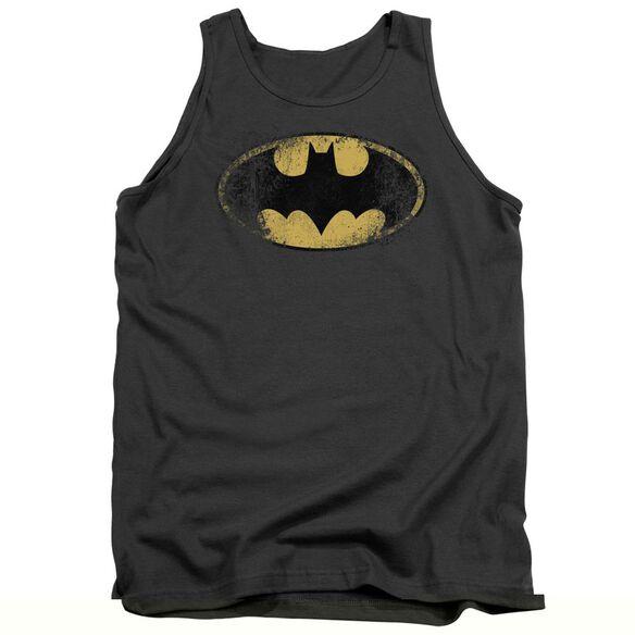 Batman Destroyed Logo - Adult Tank - Charcoal