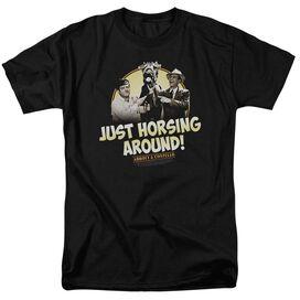ABBOTT & COSTELLO HORSING AROUND-S/S ADULT 18/1 - BLACK T-Shirt