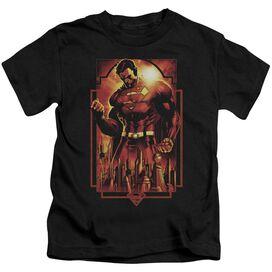 Superman Metropolis Deco Short Sleeve Juvenile Black T-Shirt