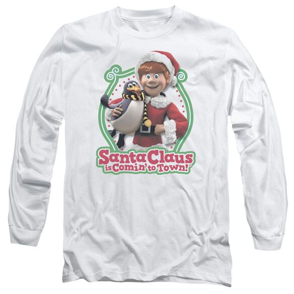 Santa Claus Is Comin To Town Penguin Long Sleeve Adult T-Shirt