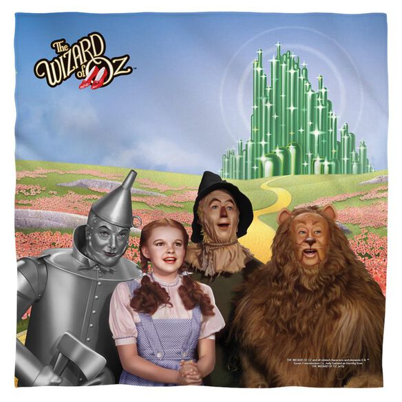 Wizard Of Oz Emerald City Poly 22 X22 Bandana White