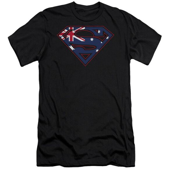 SUPERMAN AUSTRALIAN SHIELD - S/S ADULT 30/1 - BLACK T-Shirt
