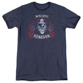 Bon Jovi Forever Skull Adult Ringer Navy