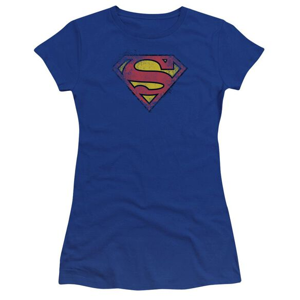 Superman Destroyed Supes Logo Premium Bella Junior Sheer Jersey Royal