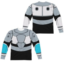 Teen Titans Go Cyborg Uniform (Front Back Print) Long Sleeve Adult Poly Crew T-Shirt