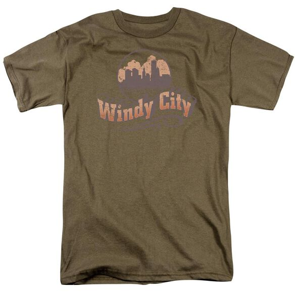 Windy City Short Sleeve Adult Safari Green T-Shirt