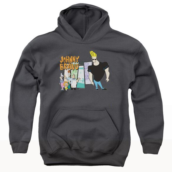 Johnny Bravo Johnny & Friends-youth Pull-over Hoodie - Charcoal