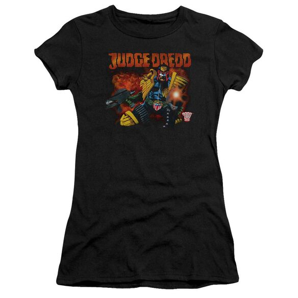 Judge Dredd Through Fire Short Sleeve Junior Sheer T-Shirt