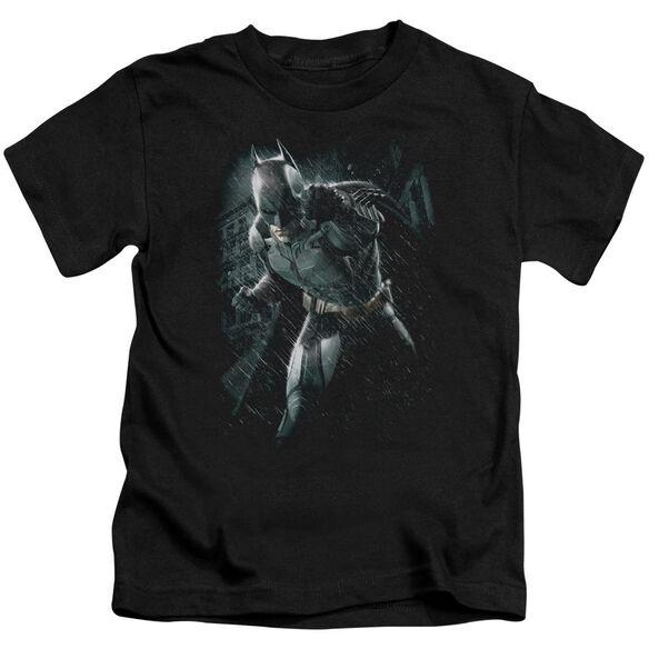 Dark Knight Rises Batman Rain Short Sleeve Juvenile Black T-Shirt