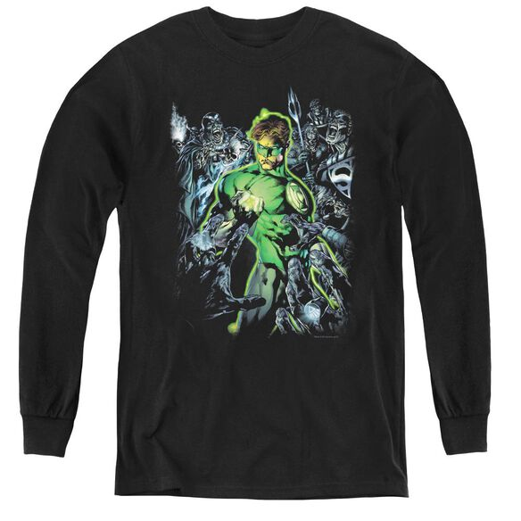 Green Lantern Surrounded By Death - Youth Long Sleeve Tee - Black