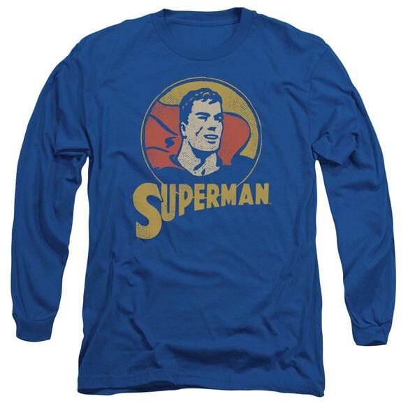 Dc Super Circle Long Sleeve Adult Royal T-Shirt