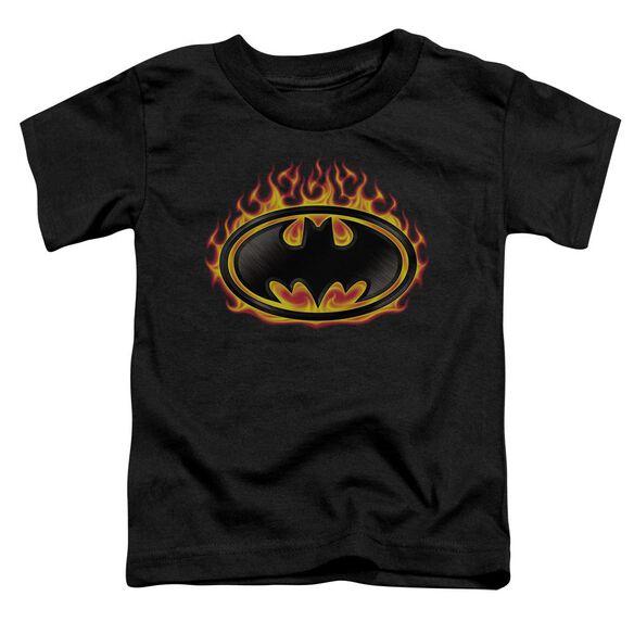 Batman Bat Flames Shield Short Sleeve Toddler Tee Black Sm T-Shirt
