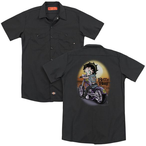 Betty Boop Wild Biker (Back Print) Adult Work Shirt