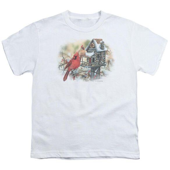 Wildlife Cardinals Rustic Retreat Short Sleeve Youth T-Shirt