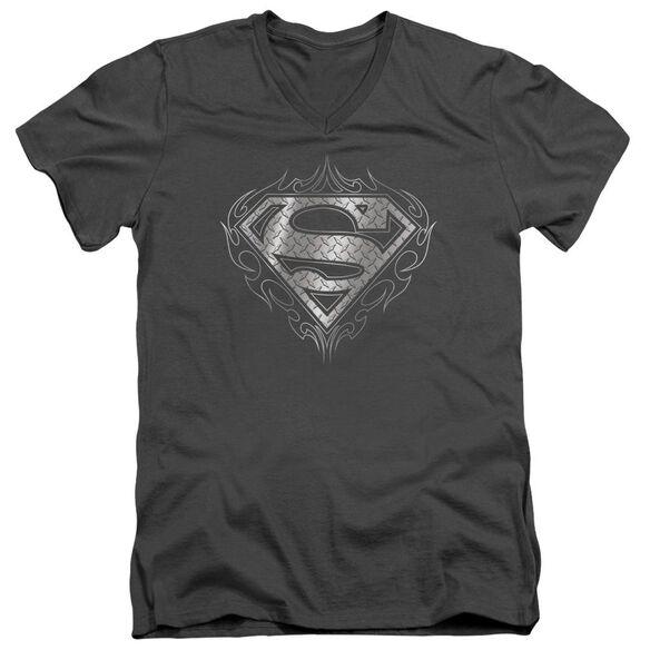 SUPERMAN TRIBAL STEEL LOGO - S/S ADULT V-NECK - CHARCOAL T-Shirt