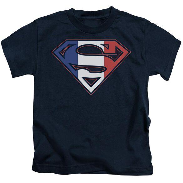 SUPERMAN FRENCH SHIELD - S/S JUVENILE 18/1 - NAVY - T-Shirt