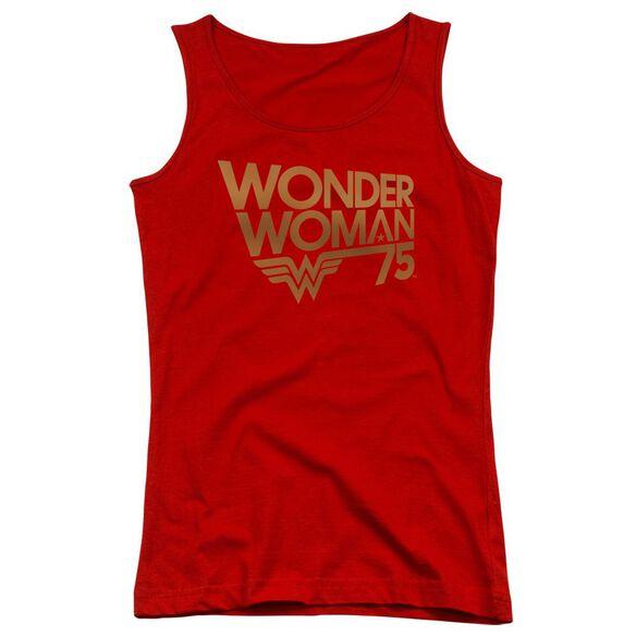 Wonder Woman Wonder Woman 75 Th Anniversary Gold Logo Juniors Tank Top
