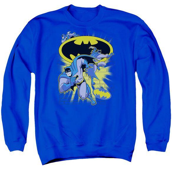 Batman Bb Action Collage Adult Crewneck Sweatshirt Royal
