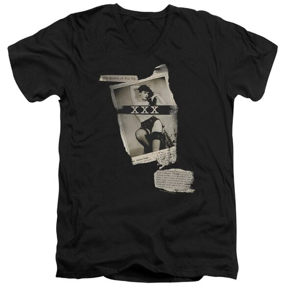 Bettie Page Newspaper & Lace Short Sleeve Adult V Neck T-Shirt