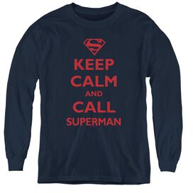 Superman Call Superman - Youth Long Sleeve Tee - Navy