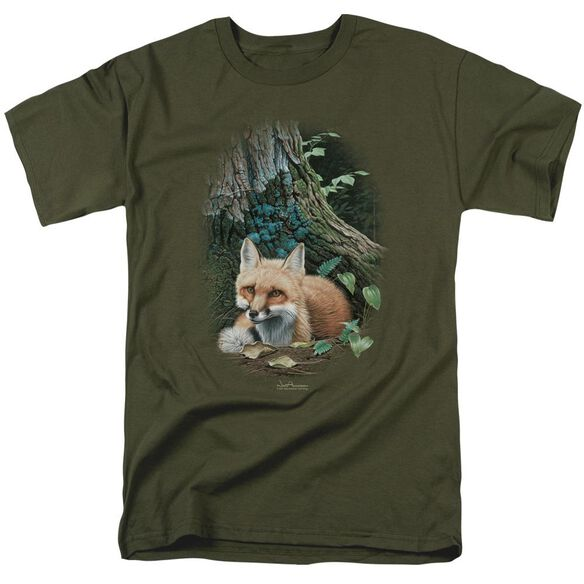 Wildlife Cozy Retreat Short Sleeve Adult Military Green T-Shirt
