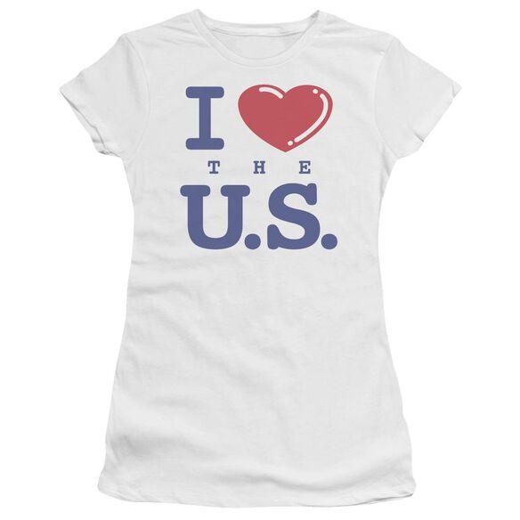 I LOVE THE US - JUNIOR SHEER - WHITE T-Shirt