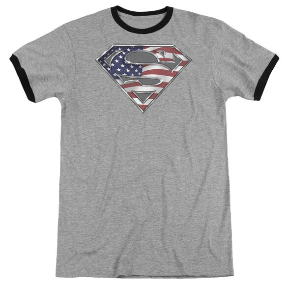 Superman All Adult Ringer Heather Black