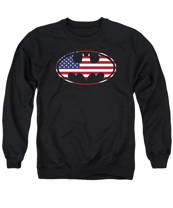 Batman American Flag Oval Adult Crewneck Sweatshirt