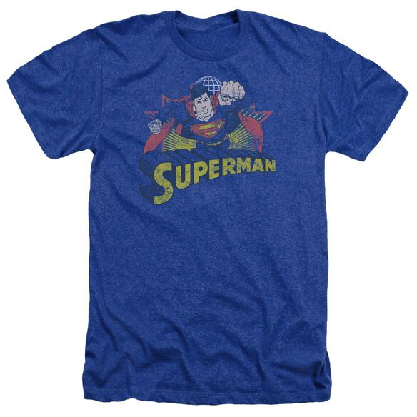 Jla Superman Rough Distress Adult Heather Royal