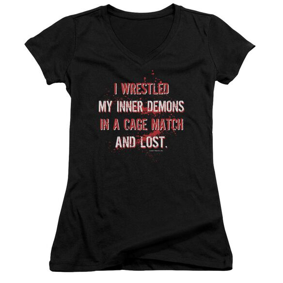 Wrestling Inner Demons Junior V Neck T-Shirt