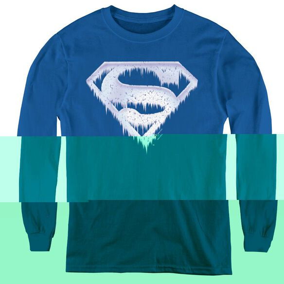 Superman Ice And Snow Shield - Youth Long Sleeve Tee - Royal Blue