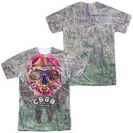 Cbgb Graffiti Skull (Front Back Print) Short Sleeve Adult Poly Crew T-Shirt